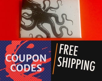"Kraken Giant Octopus Nautical 2x3"" Button Pin or Magnet, FREE SHIPPING & Coupon Codes"