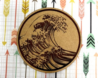 Great Wave Off Kanagawa Japanese Drink Coaster Set, FREE SHIPPING