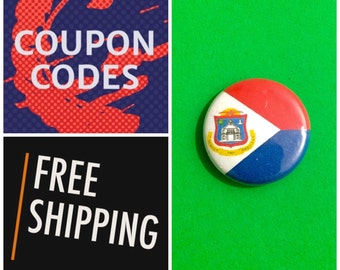 Sint Maarten Flag Button Pin, FREE SHIPPING & Coupon Codes