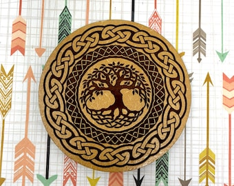 Tree of Life Celtic Knot Drink Coaster - FREE SHIPPING