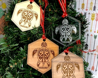 Kauai Honu Sea Turtle Hawaiian Christmas Tree Ornament, FREE SHIPPING