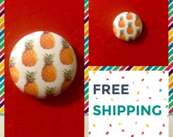 Hawaiian Pineapple Print Button Pin, FREE SHIPPING & Coupon Codes
