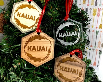 Kauai Island Hawaiian Christmas Tree Ornament, FREE SHIPPING