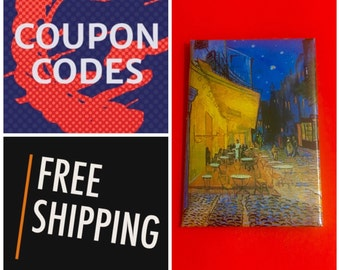 "Van Gogh Cafe Terrace at Night 2x3"" Button Pin or Magnet, FREE SHIPPING & Coupon Codes"