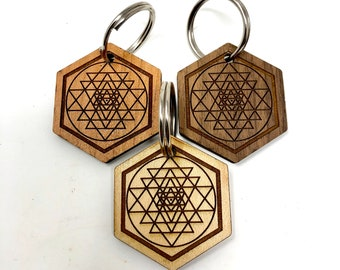 Sacred Geometry - Metatron's Cube Wood Key Chain, FREE SHIPPING