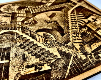 MC Escher Relativity Art Piece Engraved in Wood, FREE SHIPPING