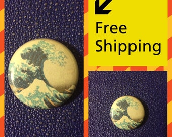 The Great Wave off Kanagawa, Japanese Print Button Pin FREE SHIPPING & Coupon Codes