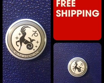 Capricorn Astrology Sign, Zodiac Button Pin, FREE SHIPPING & Coupon Codes