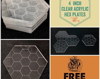 "Clear Acrylic 4"" Hex Plates for Tabletop War Gaming and D&D, FREE SHIPPING and Bulk Discounts"
