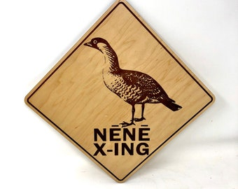 Hawaiian Nene Crossing Street Sign on Wood, FREE SHIPPING