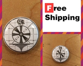 TV Test Pattern w/ Classic Native American: Retro Button Pin FREE SHIPPING & Coupon Codes