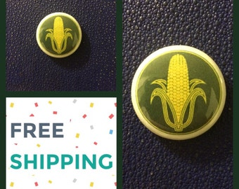 "Yellow Corn 1"" Button Pin , FREE SHIPPING & Coupon Codes"