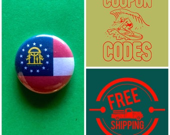 Georgia State Flag Button Pin or Magnet, FREE SHIPPING & Coupon Codes