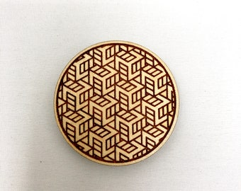 Wood Magnet - Box Tesselation Design, FREE SHIPPING