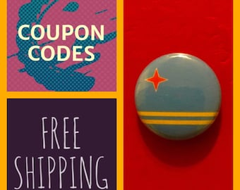 Aruba Flag Button Pin, FREE  SHIPPING & Coupon Codes
