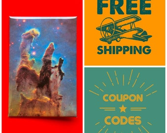 "Pillars of Creation, Hubble Telescope Photo 2x3"" Button Pin or Magnet, FREE SHIPPING & Coupon Codes"