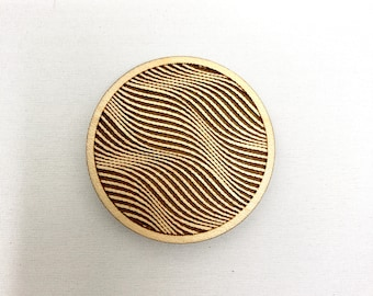 Wood Magnet - Dune 3D Optical Illusion Design, FREE SHIPPING