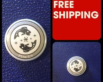 Pisces Astrology Sign, Zodiac Button Pin, FREE SHIPPING & Coupon Codes