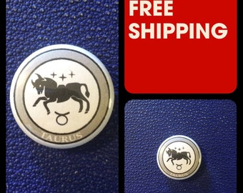 Taurus Astrology Sign, Zodiac Button Pin, FREE SHIPPING & Coupon Codes