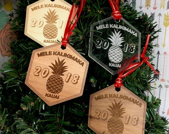 Kauai Mele Kalikimaka 2018 Hawaiian Christmas Tree Ornament, FREE SHIPPING