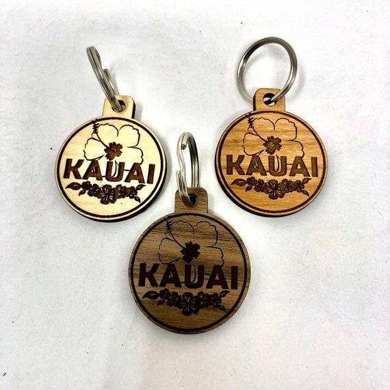 Kauai Hibiscus Flower Wood Key Chain, Laser Cut, FREE SHIPPING