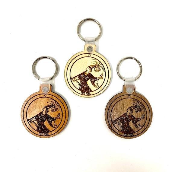 00 - The Fool -  Tarot Deck Card Wood Key Chain w Key Ring, FREE SHIPPING