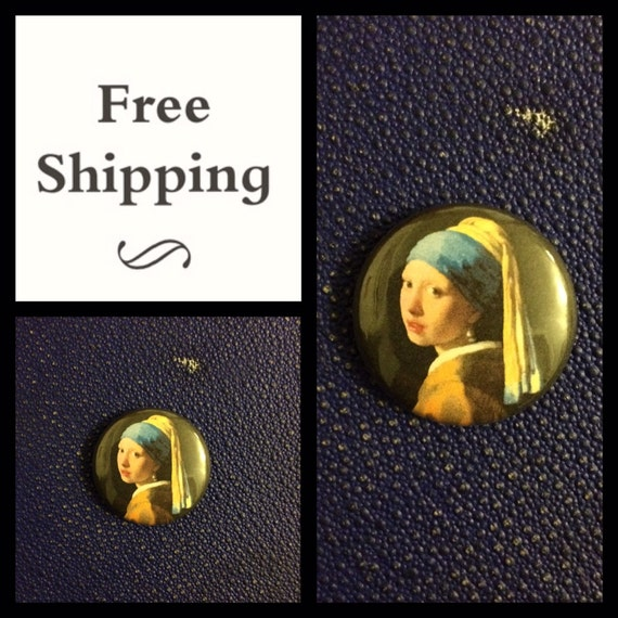 Vermeer Girl with a Pearl Earring, Button Pin Badge, FREE SHIPPING