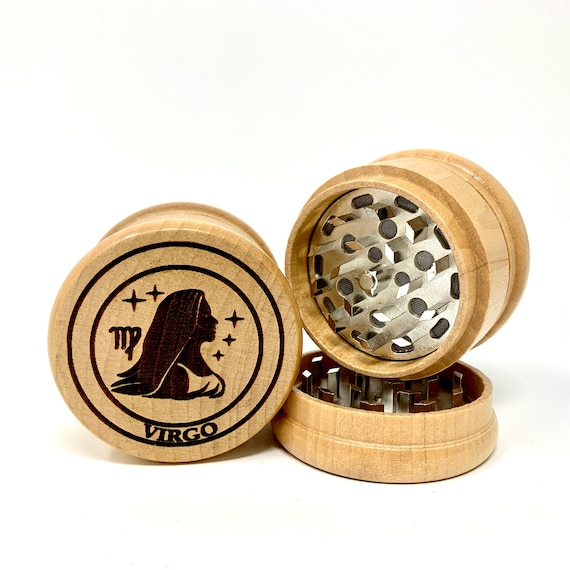 Virgo The Maiden Star Sign Astrology - Herb Grinder Weed Grinders Tobacco Spices 3 piece all wood set sharp blades catcher FREE SHIPPING