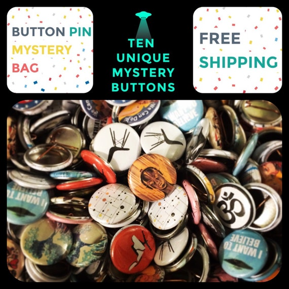 Mystery Grab Bag of 10 Button Pins, FREE SHIPPING,