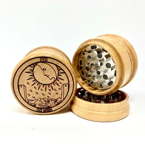 18 Tarot Deck Card - The Moon - Herb Grinder 3pc Grinders Tobacco Spices 3 piece all wood set sharp blades w/ sieve FREE SHIPPING