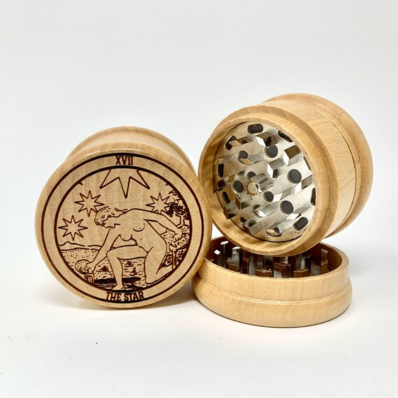 17 Tarot Deck Card - The Star - Herb Grinder Weed Grinders Tobacco Spices 3 piece all wood set sharp blades w/ sieve FREE SHIPPING