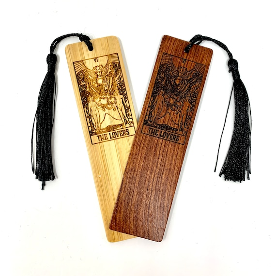 Wood Bookmark - Tarot 06 - The Lovers - Bookmarks Bamboo or Rosewood, Engraved Real Wood Gift for Students or Friend