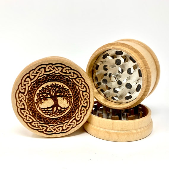 Celtic Tree of Life Design - Herb Grinder Weed Grinders Tobacco Spices 3 piece all wood set with sharp blades and sieve FREE SHIPPING