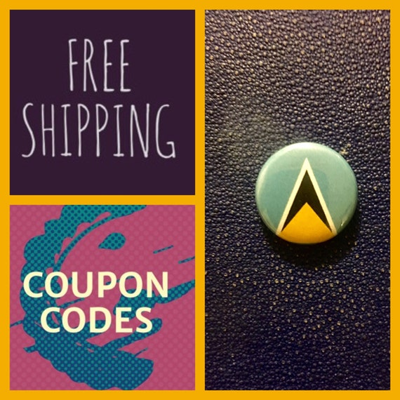 St. Lucia Flag Button Pin, FREE SHIPPING