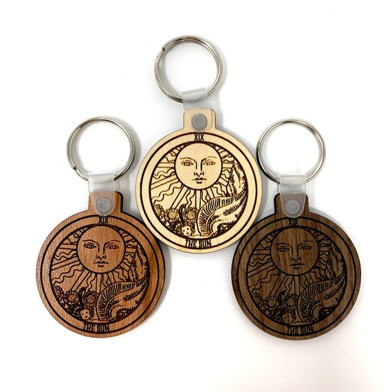 19 - The Sun - Tarot Deck Card Wood Key Chain w Key Ring, FREE SHIPPING