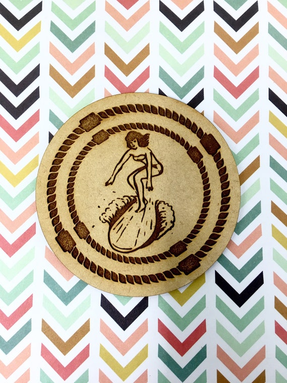 Drink Coasters - Surfer Girl Nautical Wood Drink Coaster Set Home Decor Unique Gifts Housewarming Gift