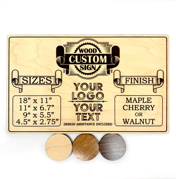 Custom Wood Sign: Laser Engraved - Your Logo, Text, or Design. FREE SHIPPING
