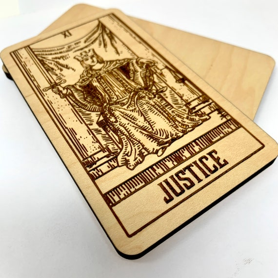 11 Justice - Wood Tarot Card, Free Shipping