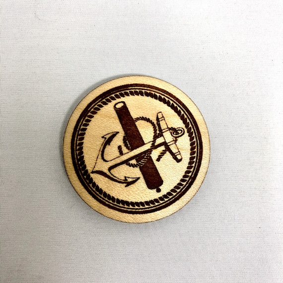 Wood Magnet - Anchor & Cannon Nautical Tattoo Design, FREE SHIPPING