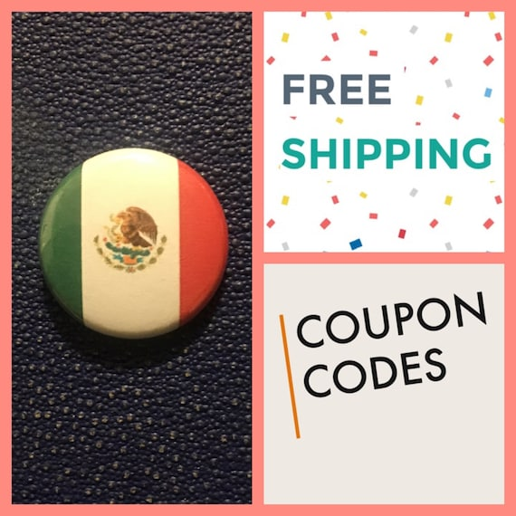 Mexican Flag Button Pin, FREE SHIPPING
