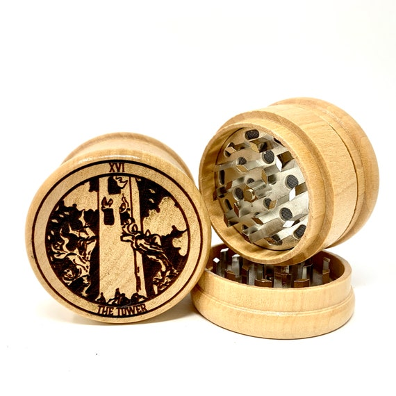 16 Tarot Deck Card - The Tower - Herb Grinder Weed Grinders Tobacco Spices 3 piece all wood set sharp blades w/ sieve FREE SHIPPING