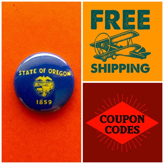 Oregon State Flag Button Pin or Magnet, FREE SHIPPING