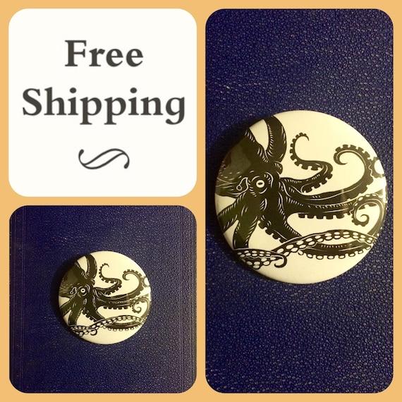 Kraken Giant Octopus Sea Monster Button Pin, FREE SHIPPING