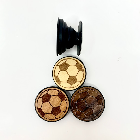 Soccer Ball Design Cell Phone Holder Grip Socket, Real Wood Top w/ strong 3M adhesive base, FREE SHIPPING