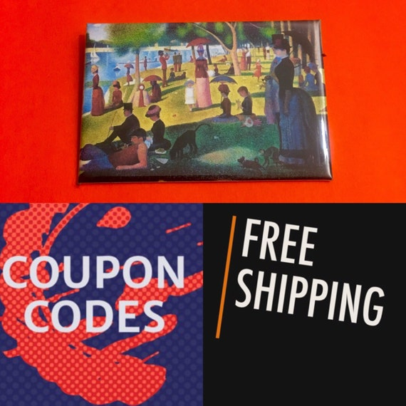 """A Sunday Afternoon on the Island of La Grande Jatte, Seurat 2x3"""" Button Pin or Magnet, FREE SHIPPING"""