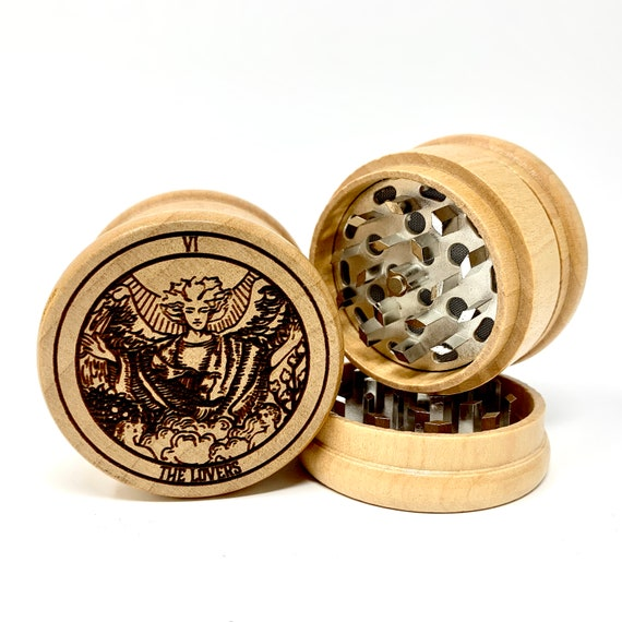 06 Tarot Deck Card - The Lovers - Herb Grinder 3pc Grinders Tobacco Spices 3 piece all wood set sharp blades w/ sieve FREE SHIPPING