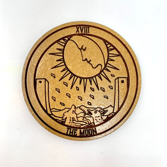 Drink Coasters - Tarot 18  The Moon Wood Drink Coaster Set Home Decor Unique Gifts Housewarming Gift