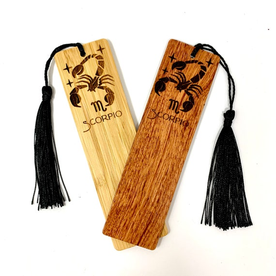 Astrology Sign - Scorpio The Scorpion - Wood Bookmark Bamboo or Rosewood, FREE SHIPPING