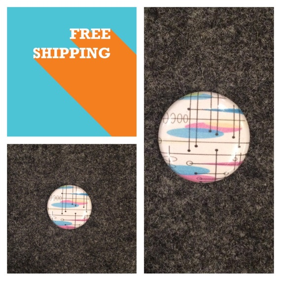50s Space Age Googie Pattern Button FREE SHIPPING