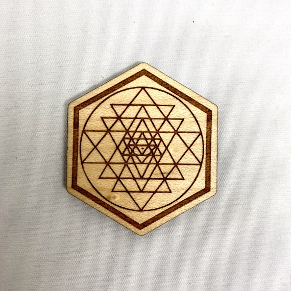 Wood Magnet - Sri Yantra Sacred Geometry Design, FREE SHIPPING